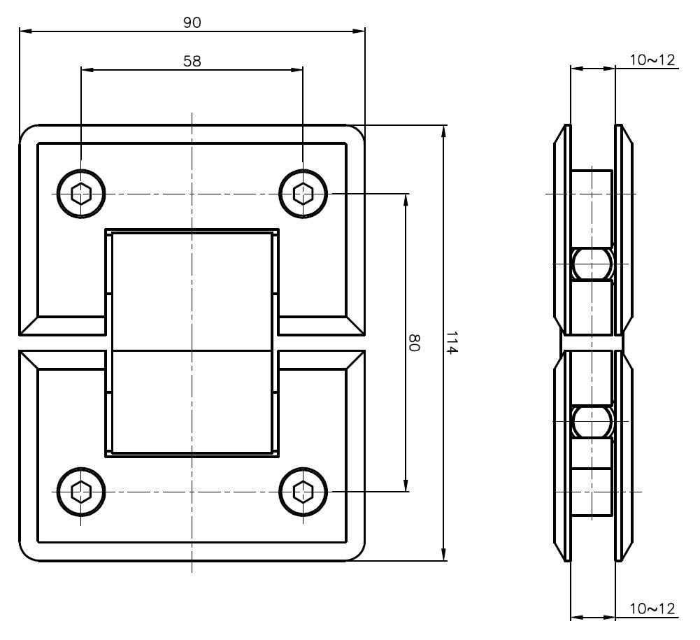 AR 3012 Cam Cama Menteşe Teknik Çizim