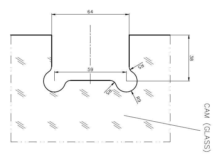 AR 3016 Glass Floor Hinge Teknik Çizim