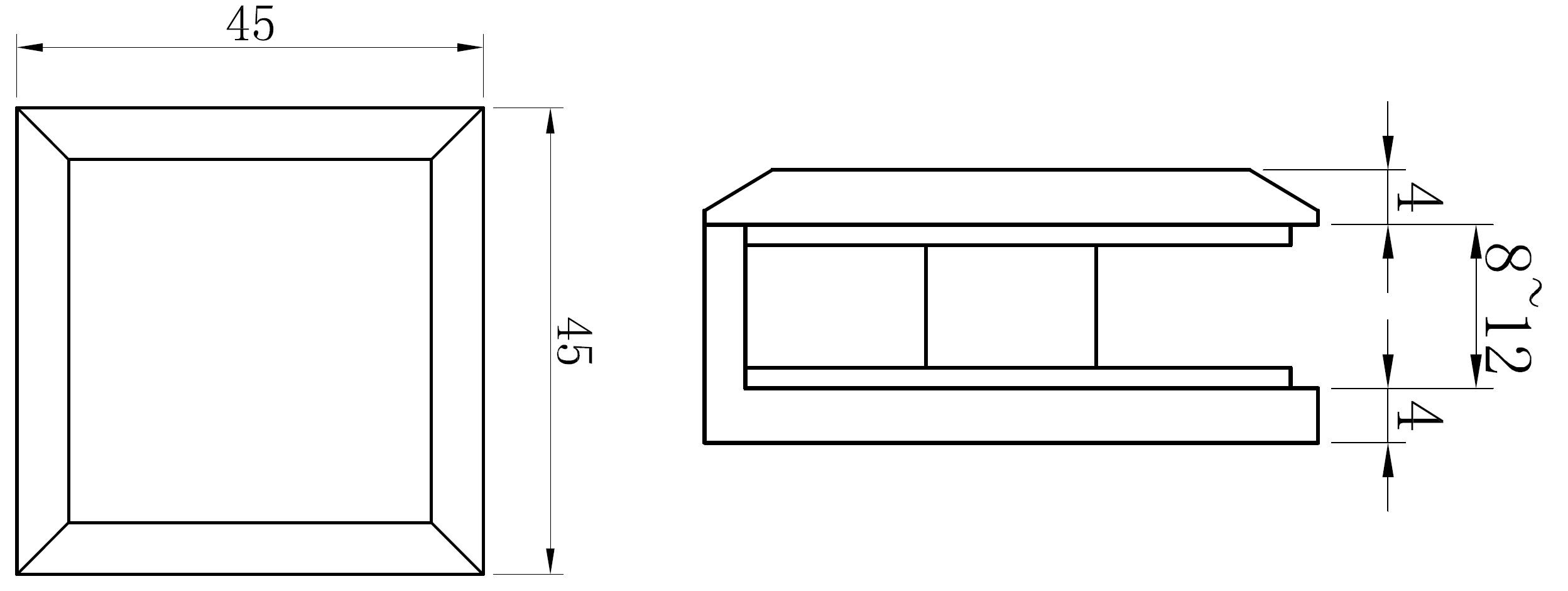 AR 3111 Cam Duvar Tutucu Teknik Çizim