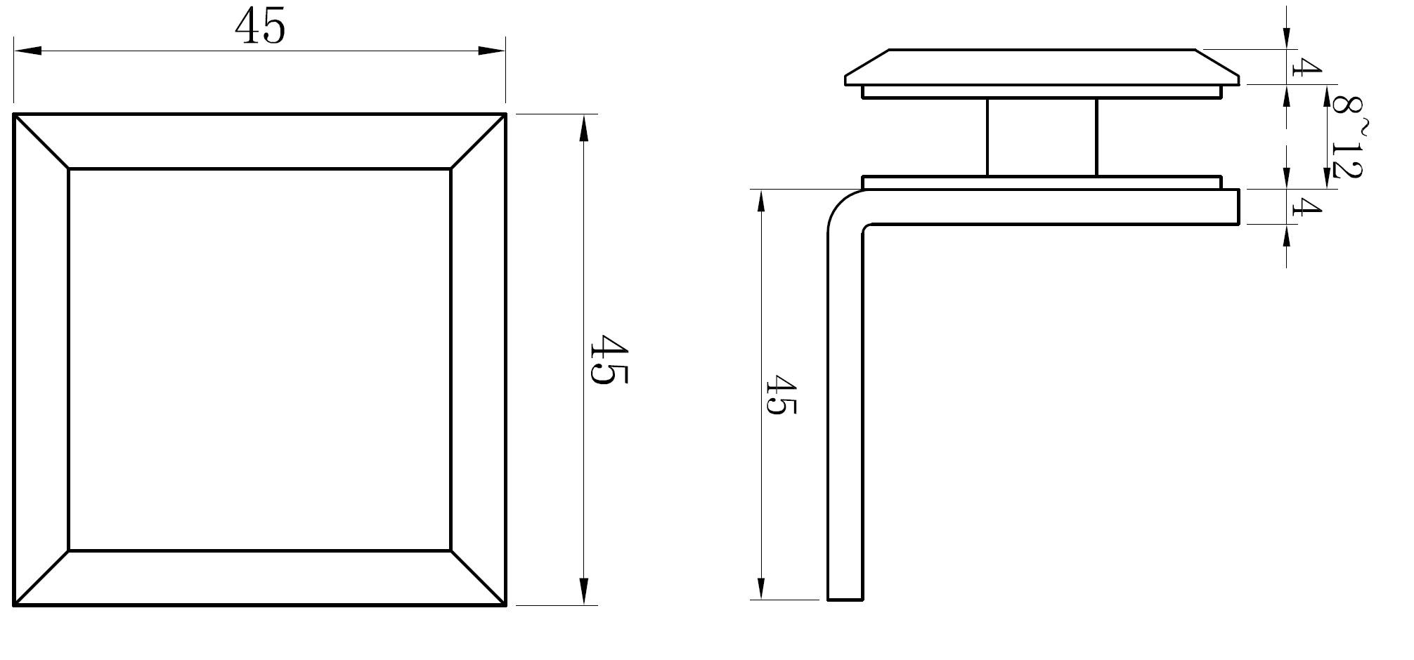 AR 3112 Cam Duvar Tutucu Teknik Çizim