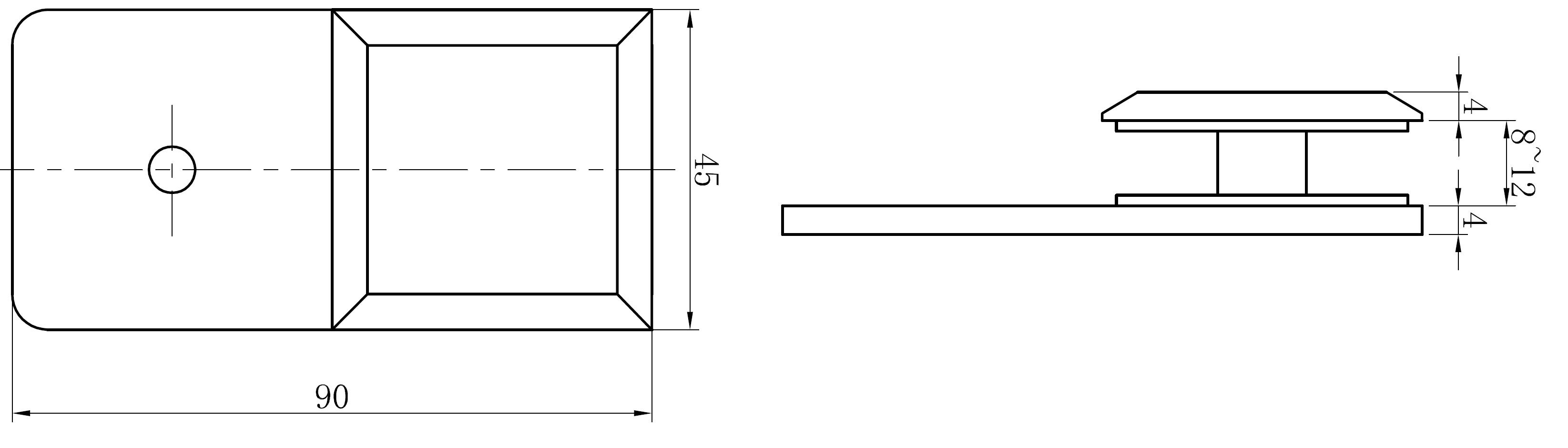 AR 3114 Cam Duvar Tutucu Teknik Çizim