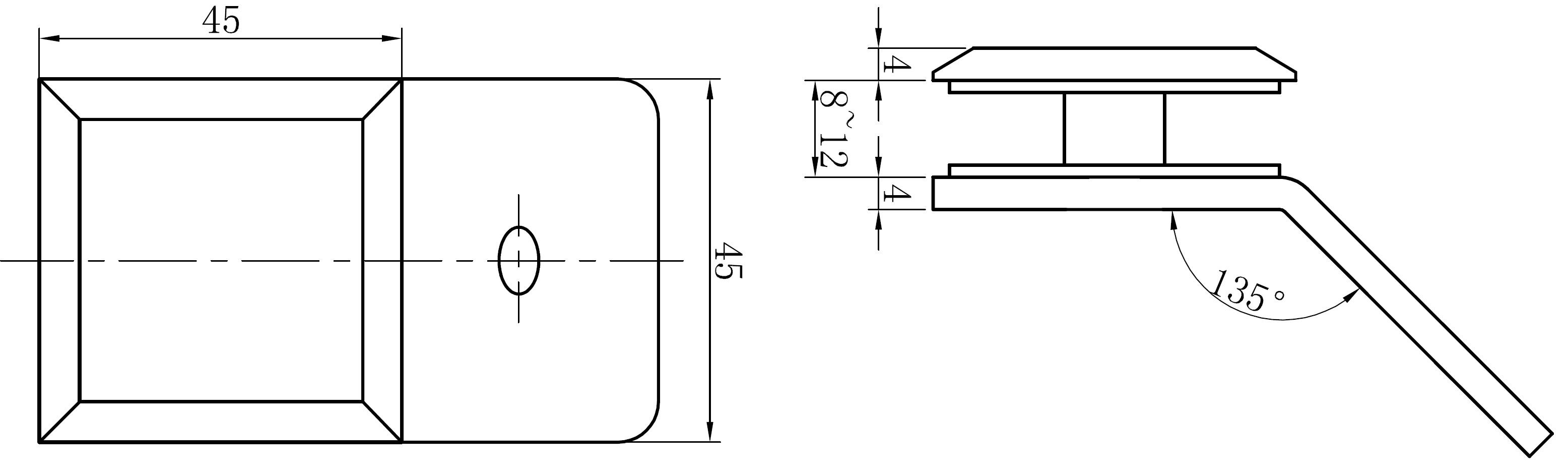 AR 3116 Cam Duvar Tutucu Teknik Çizim