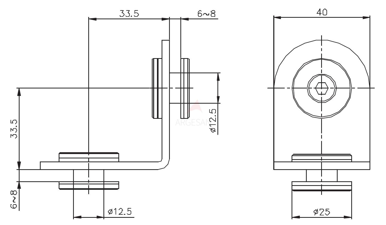 Cubicle Köşe Bağlantı 32620 Teknik Çizim