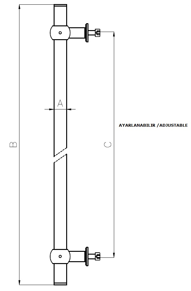 AK-003 Kapı Kolu Teknik Çizim