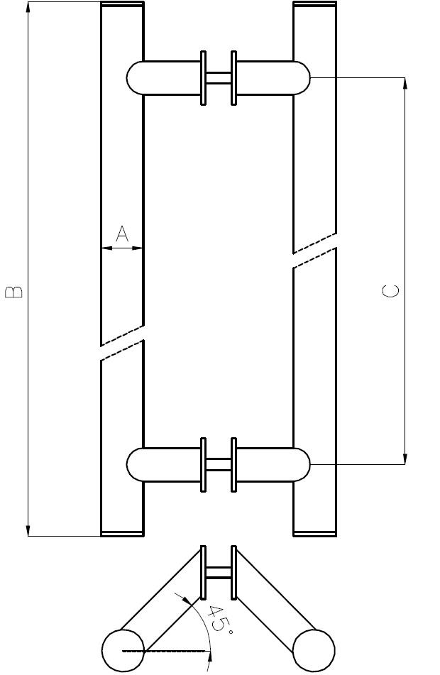 CK-08 Açılı Kapı Kolu Teknik Çizim