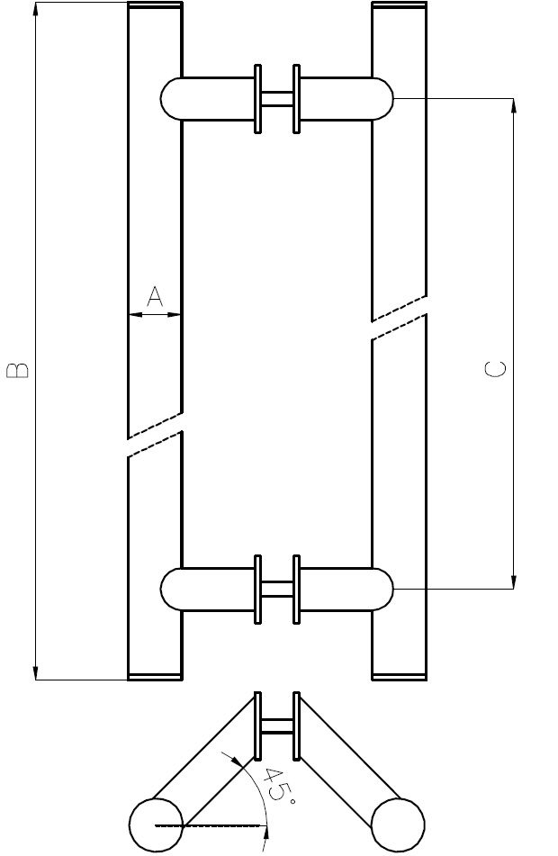 CK-08 Door Handle With Angle Teknik Çizim