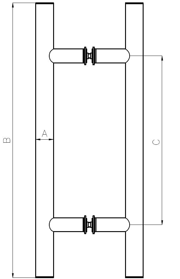 HCK-01 H Glass Door Handle Teknik Çizim