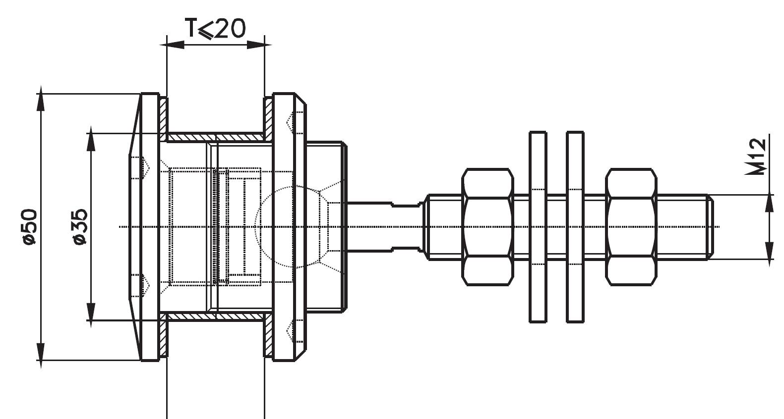 SPRO-50 / SPIDER ROTİL ÖNDEN SIKMALI Q50 Teknik Çizim