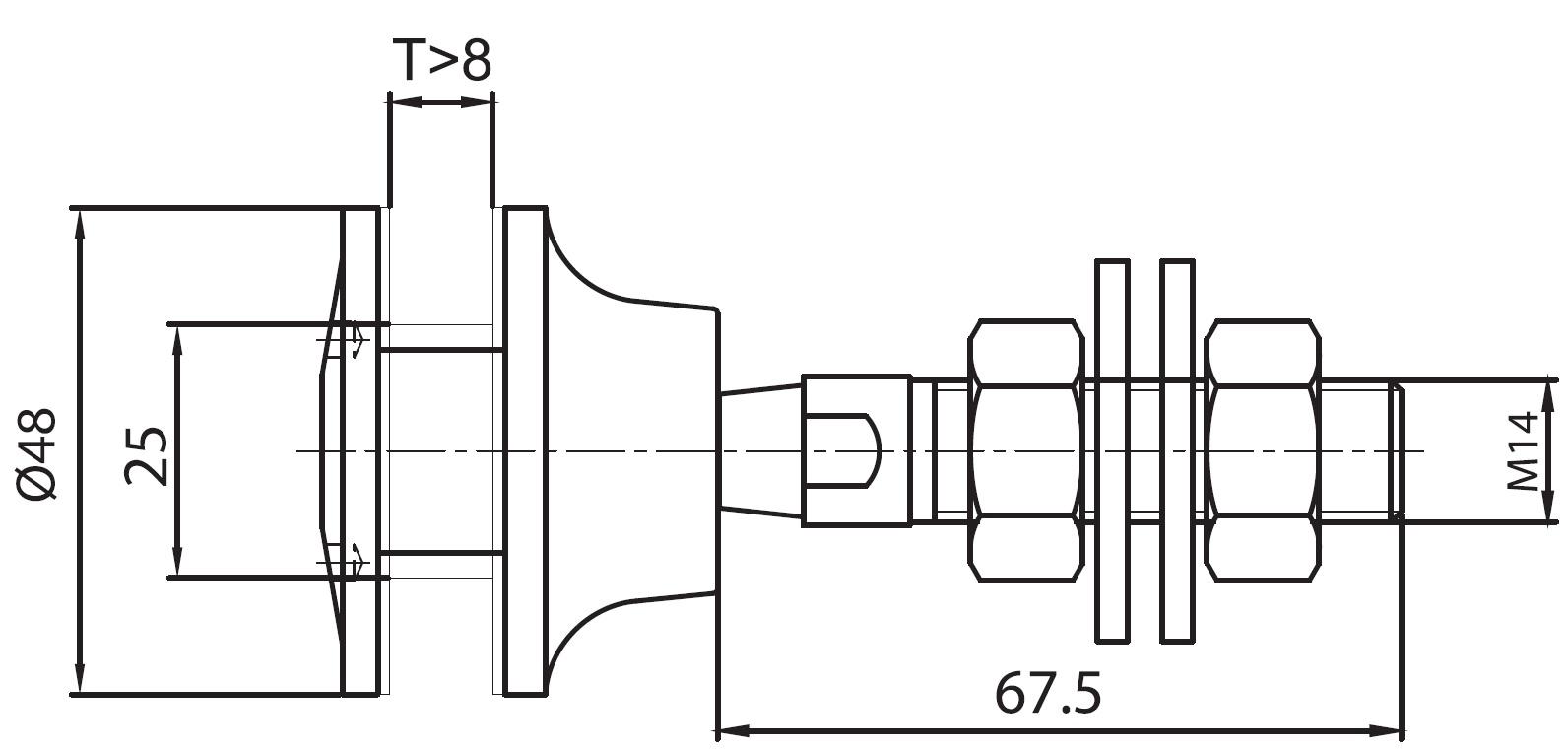 SPRO-50B / SPIDER ROTİL ÖNDEN SIKMALI Q50 Teknik Çizim