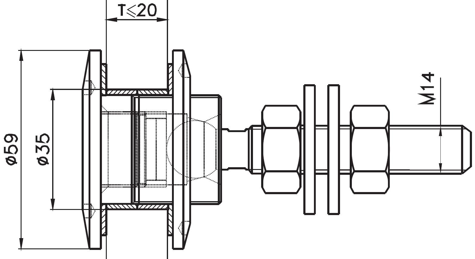 SPRO-60 / GLASS SPIDER FITTING FRONT FIXED Q60 Teknik Çizim