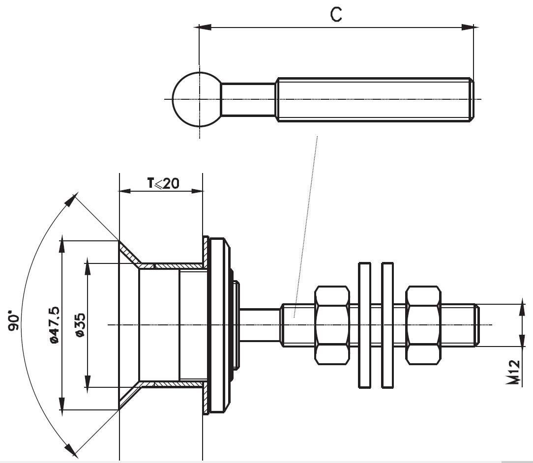 SPR-K / GLASS SPIDER FITTIN CONICE Teknik Çizim