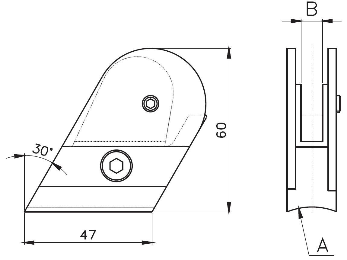 ACK-100 / AÇILI CAM TUTUCU (8mm CAMA) Teknik Çizim