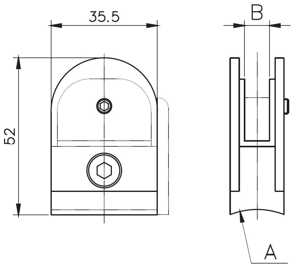 CK-100 / GLASS CLAMP (8-10mm GLASS) Teknik Çizim
