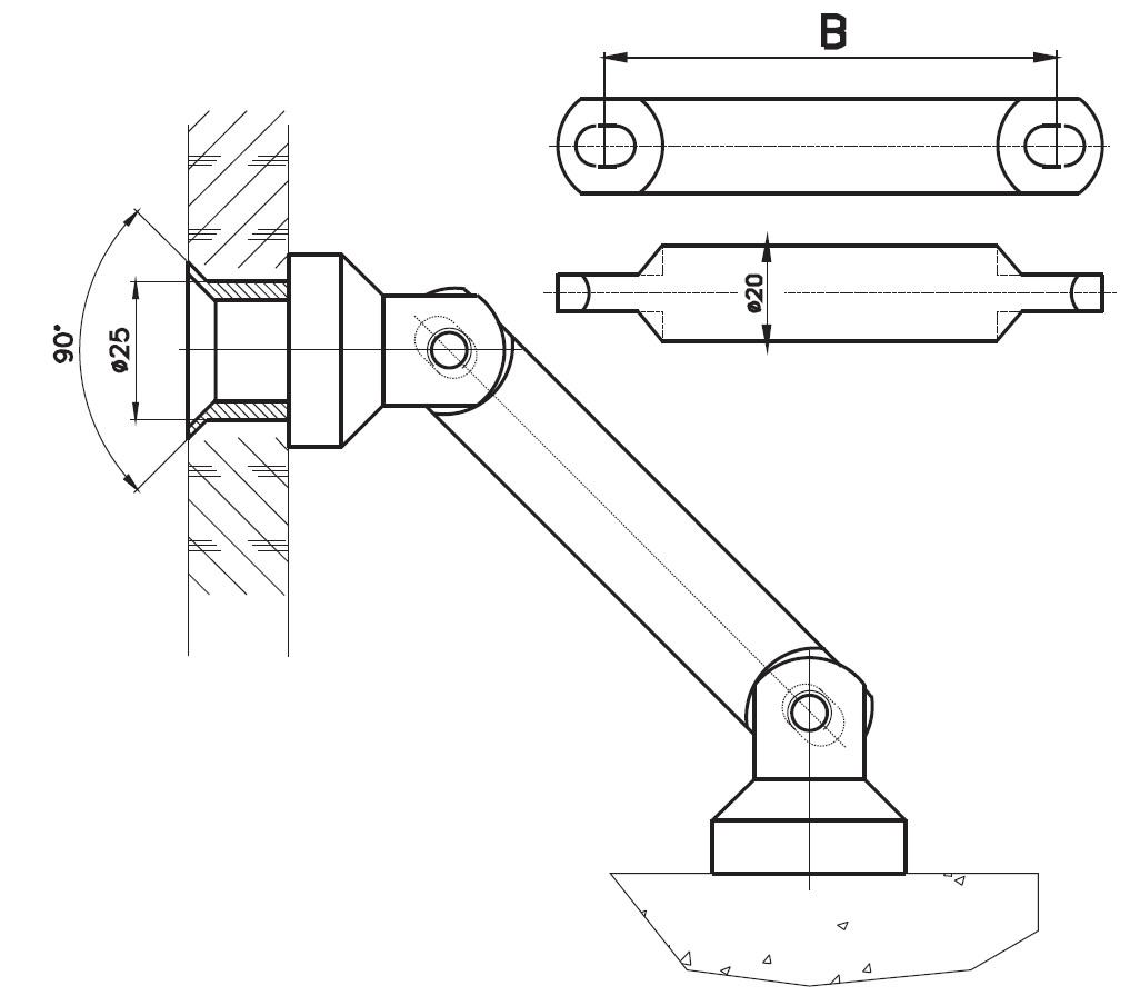 CDKB-03 Cam Duvar Köşe Bağlantı Teknik Çizim