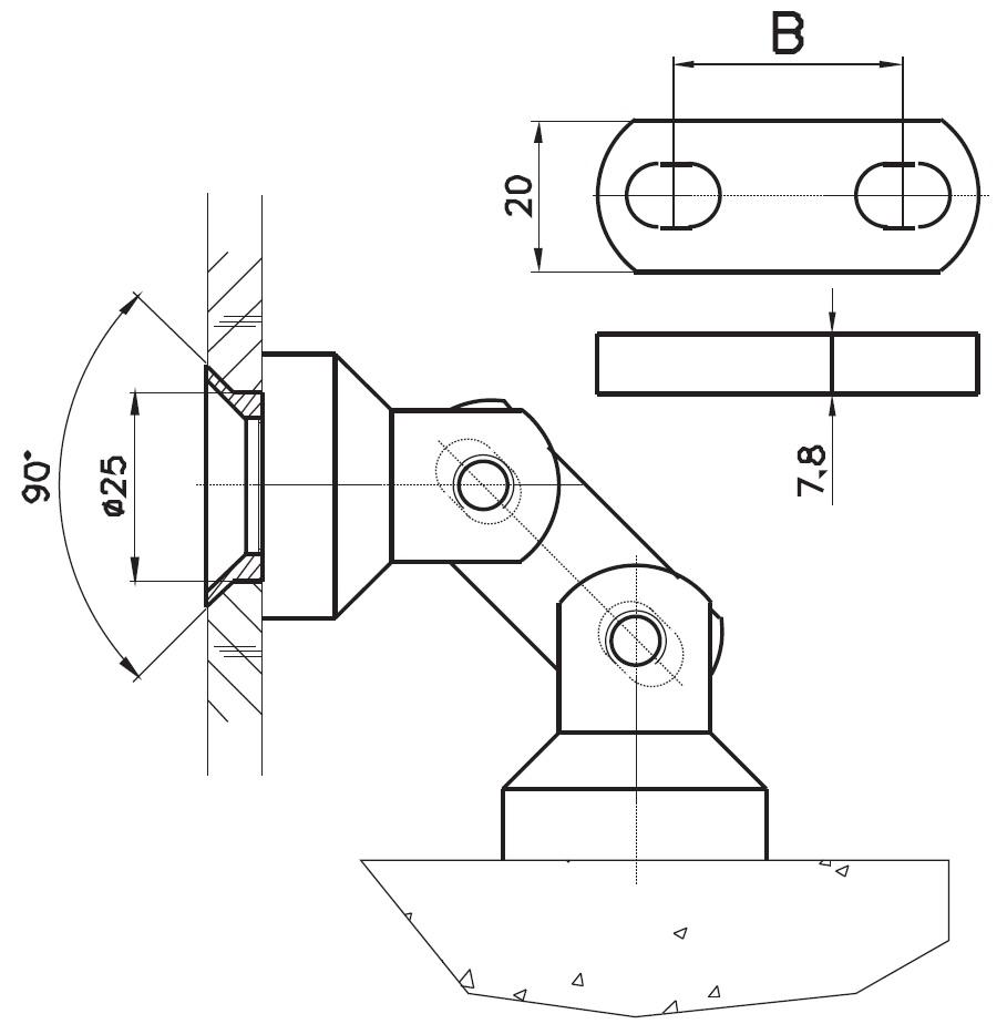 CDKB-01 Cam Duvar Köşe Bağlantı Teknik Çizim