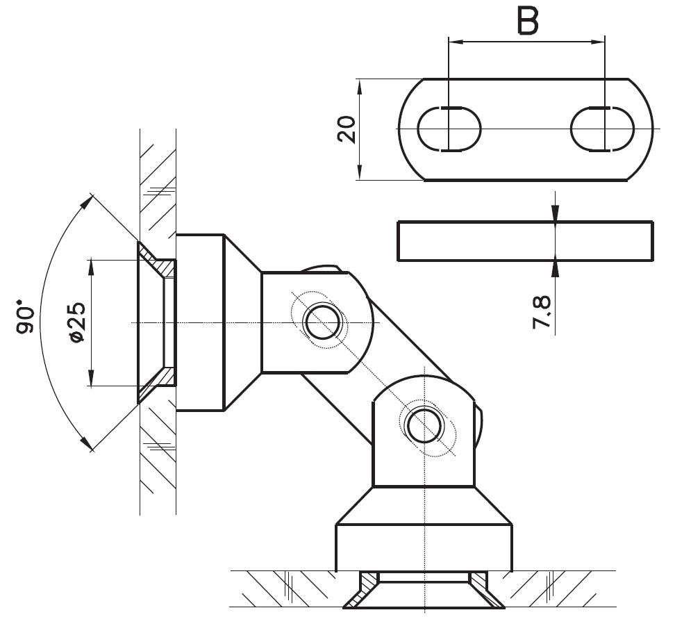 CCKB-01 Cam Cama Köşe Bağlantı Teknik Çizim