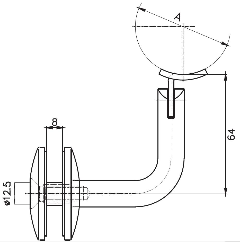 CTK-010 Cam Tutucu Kolçak Teknik Çizim