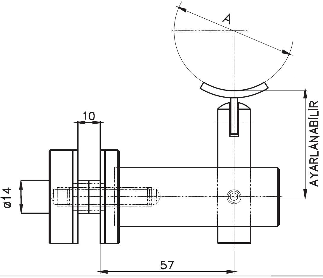 CTK-015 Handrail Support With Glass Holder Teknik Çizim