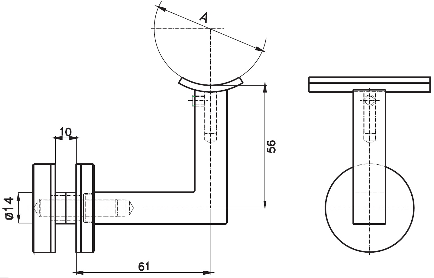 CTK-020 Cam Tutucu Kolçak Teknik Çizim
