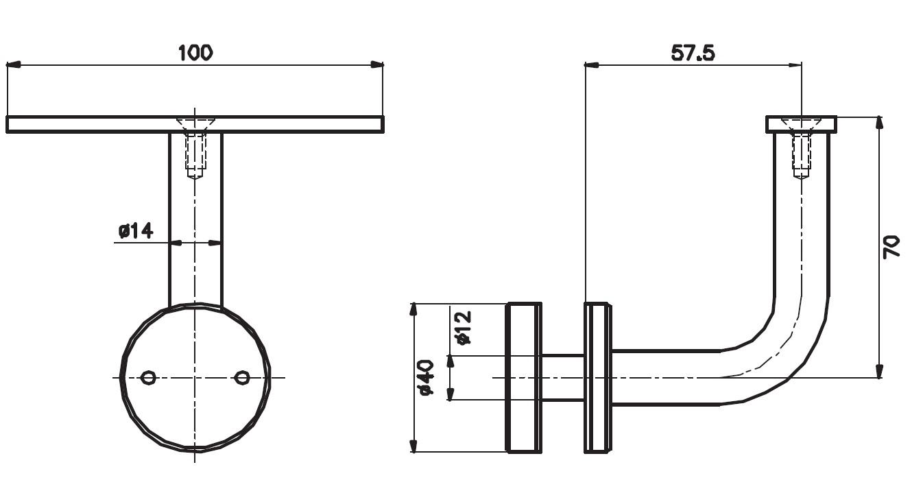 CTK-025 Cam Tutucu Kolçak Teknik Çizim