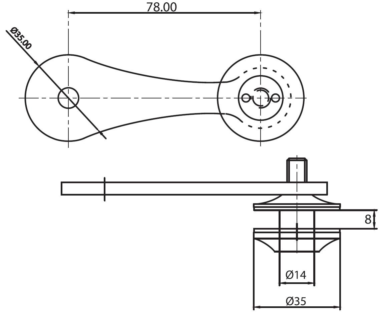 CTS-020 Cam Tutucu Birli Teknik Çizim