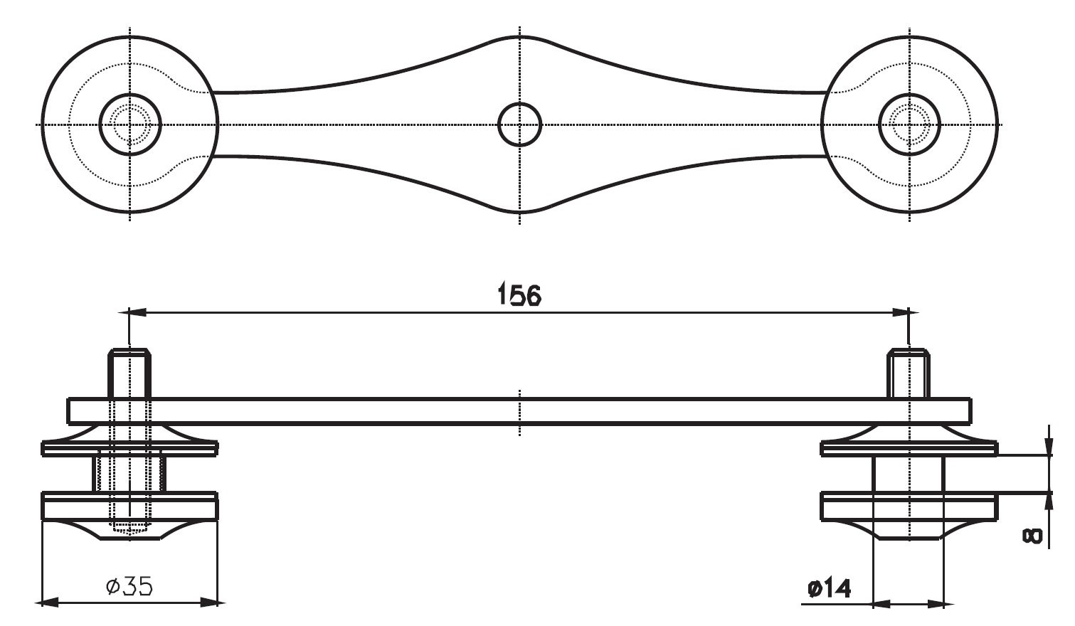 CTS-020 Cam Tutucu İkili Teknik Çizim