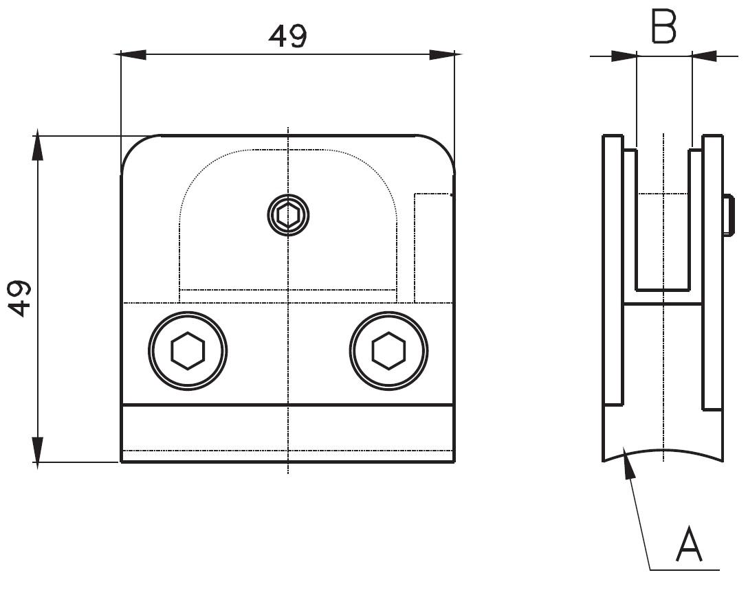 CK-200 / GLASS CLAMP (8-10mm GLASS) Teknik Çizim