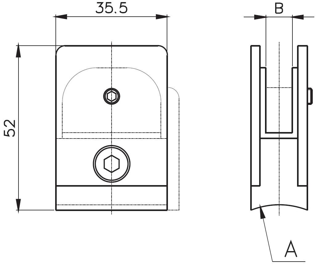 CK-300 / GLASS CLAMP (8-10mm GLASS) Teknik Çizim