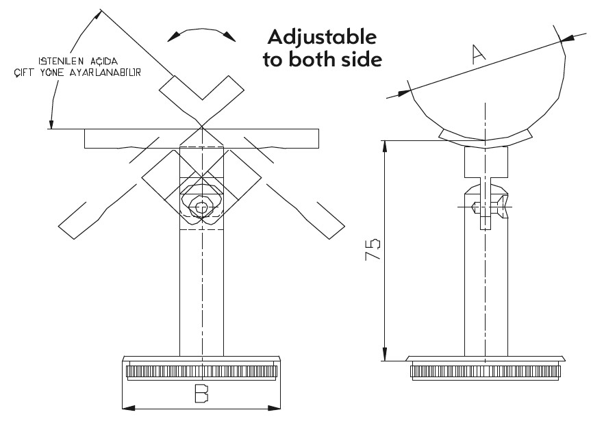 DM-1400 Handrail Bracket Teknik Çizim