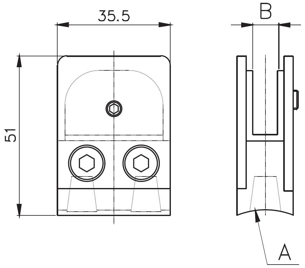 DCK-300 / CAM TUTUCU DUZ (8-10mm CAMA) Teknik Çizim