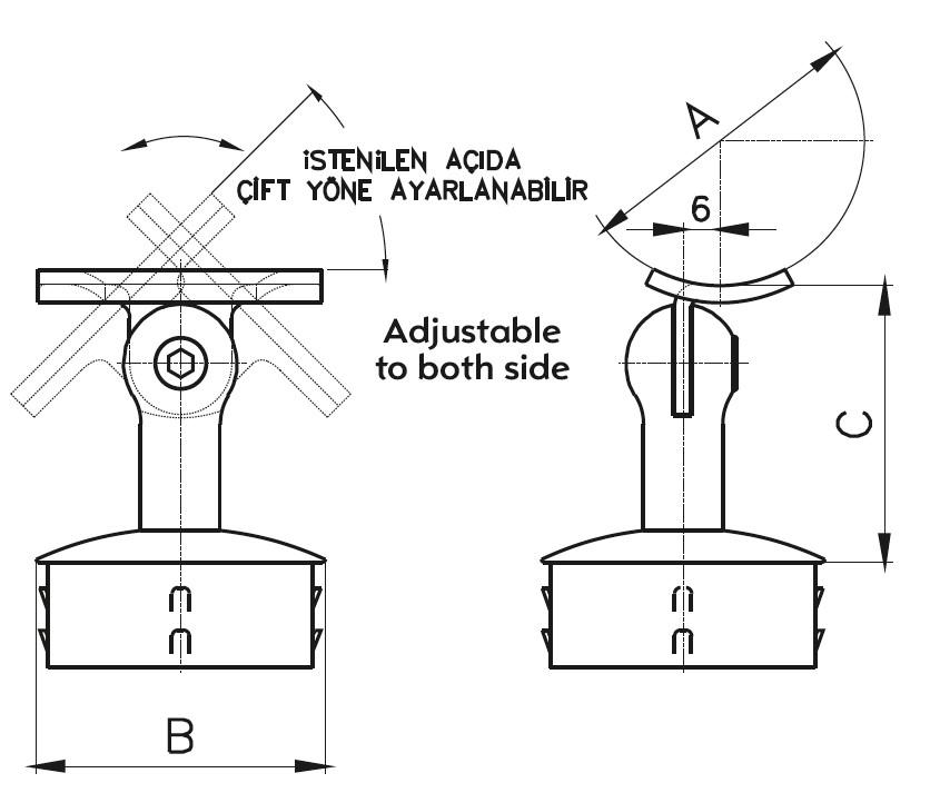 DMA-200 Handrail Bracket Teknik Çizim