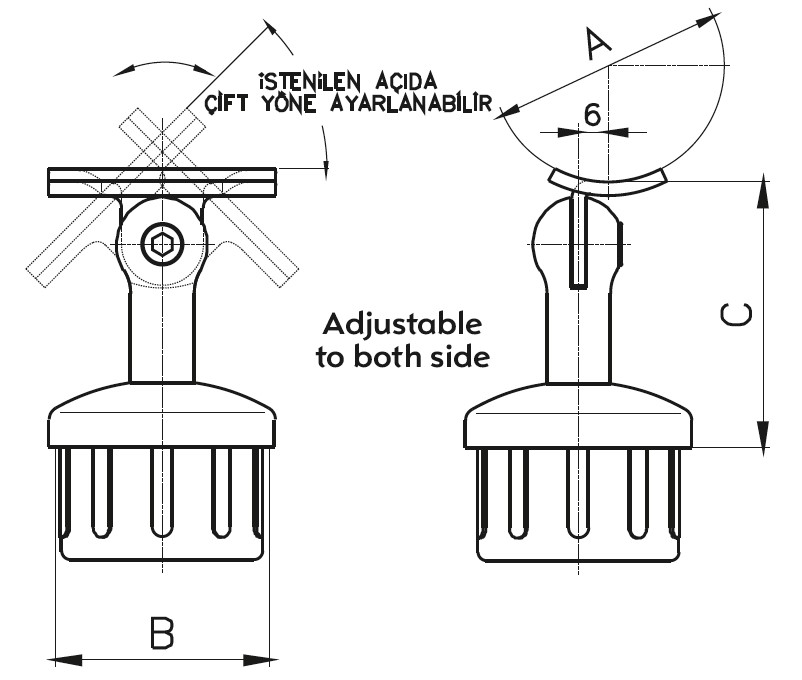 DMA-1200 Handrail Bracket Teknik Çizim