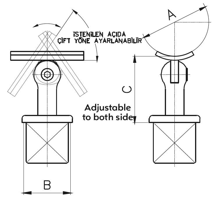 DMK-02 Handrail Bracket Teknik Çizim