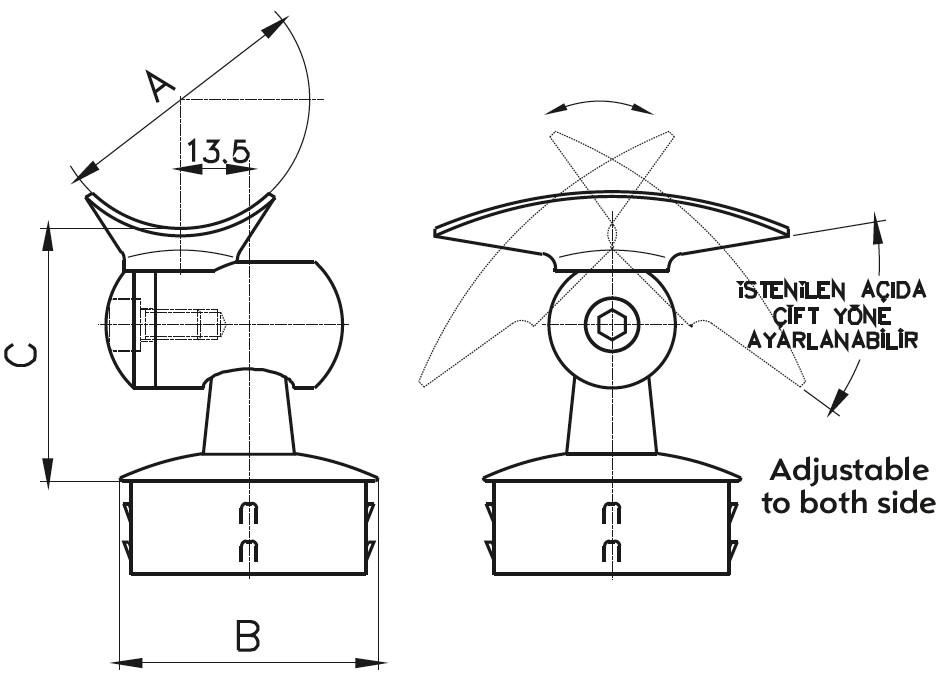DMTK-300 Handrail Bracket Teknik Çizim