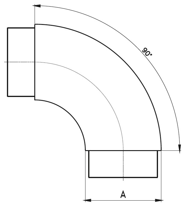 GPD-90 / GEÇMELİ PATEN DİRSEK 90 Teknik Çizim