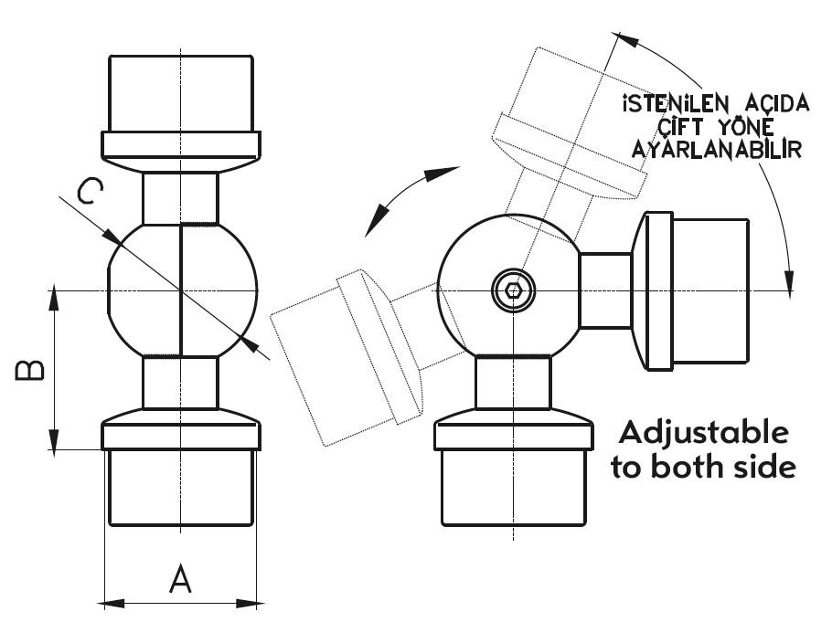 KM / ADJUSTABLE HANDRAIL ELBOW Teknik Çizim
