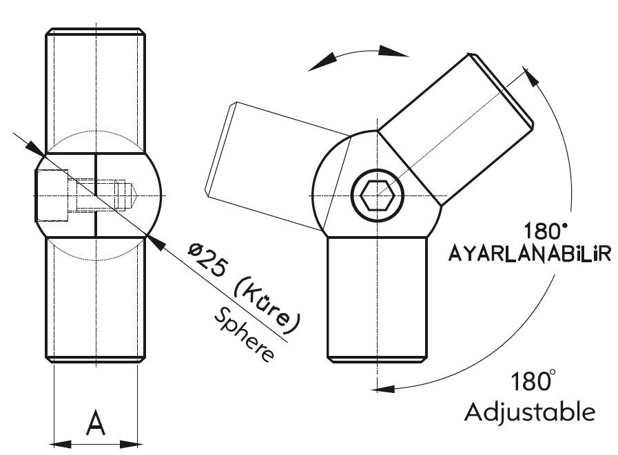 KM-16 / ADJUSTABLE HANDRAIL ELBOW 16 Teknik Çizim