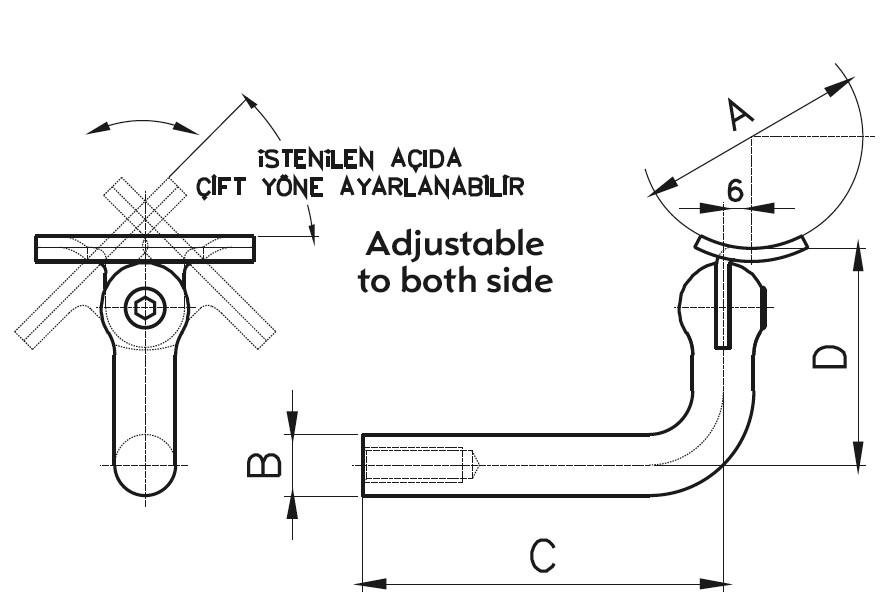 HRA-100 Handrail Support Teknik Çizim