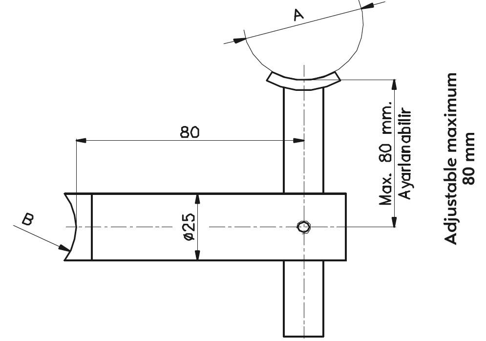 HR-101 Handrail Support Teknik Çizim