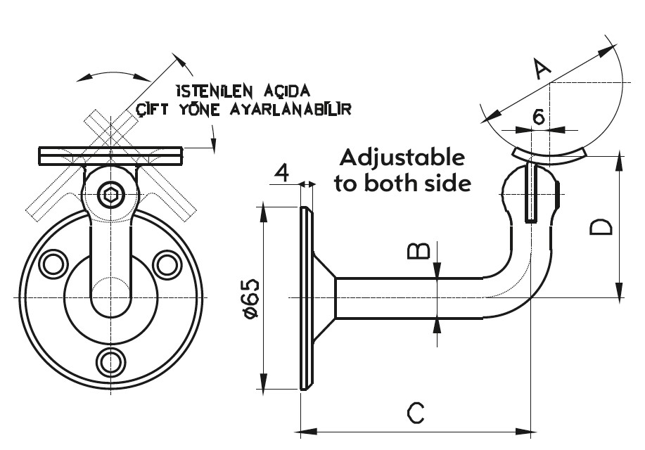HRA-200 Handrail Support Teknik Çizim