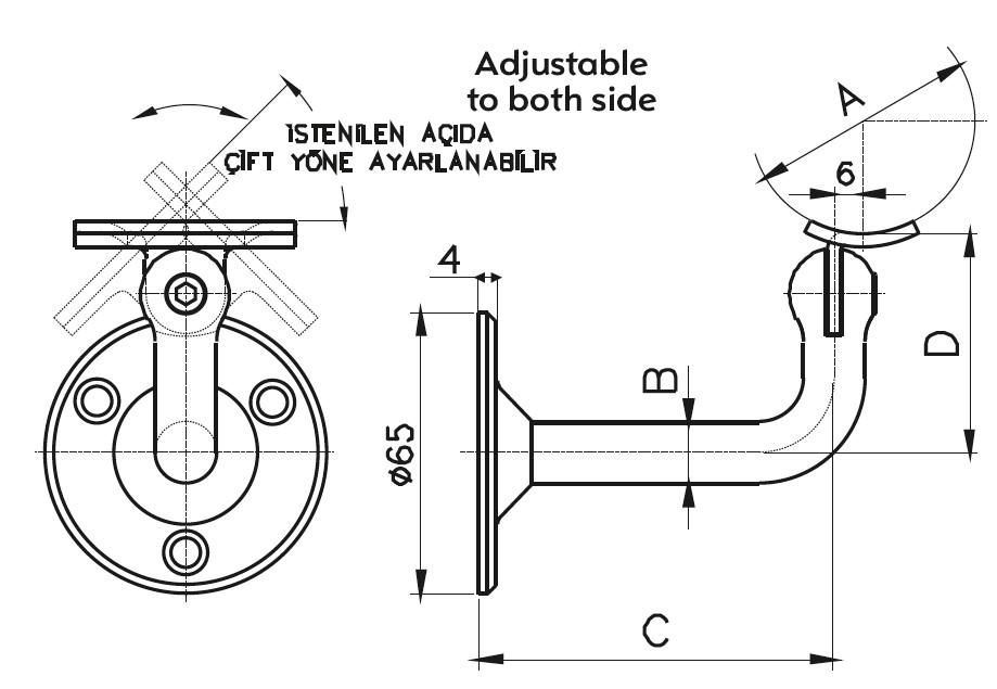 HRA-201 Dikme Kolçağı Teknik Çizim