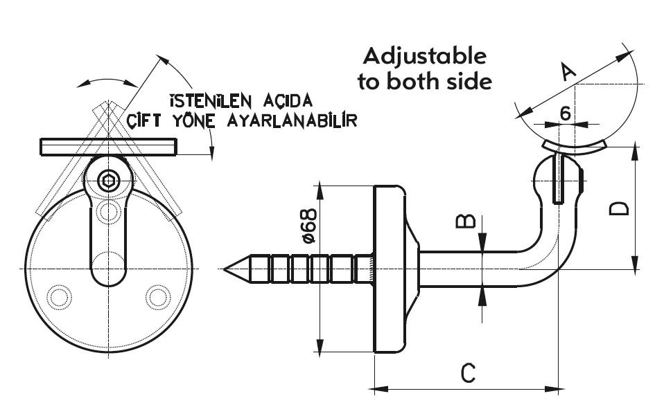 HRA-300 Dikme Kolçağı Teknik Çizim