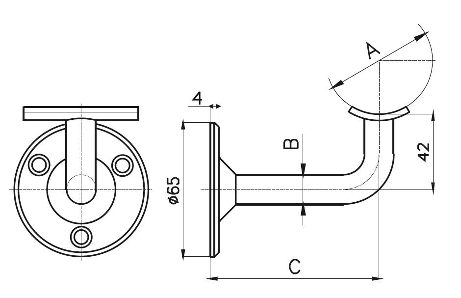 HR-400 Handrail Support Teknik Çizim