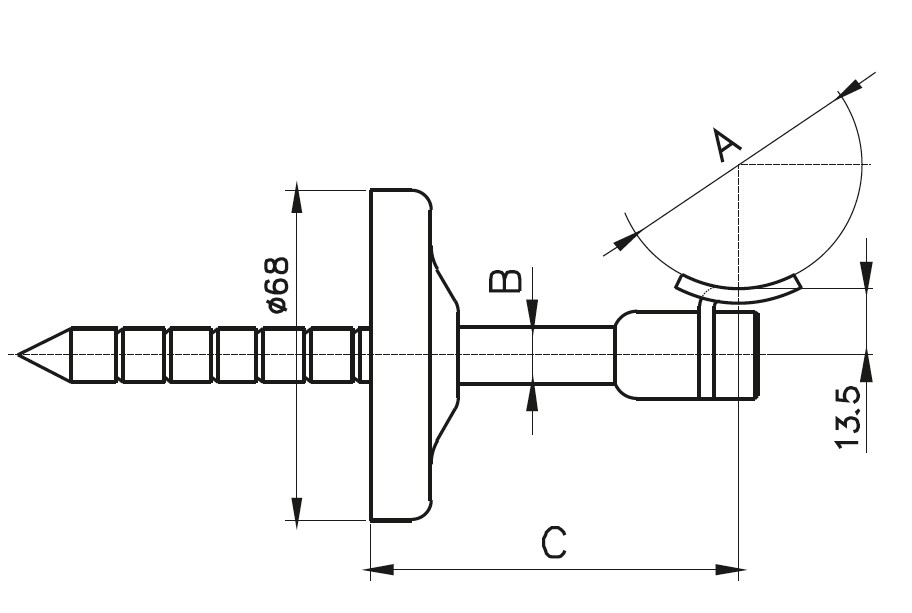 HRA-600 Dikme Kolçağı Teknik Çizim