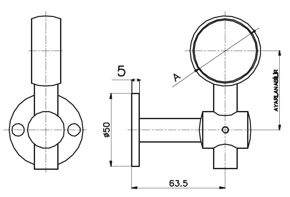HR-1300 Handrail Support Teknik Çizim