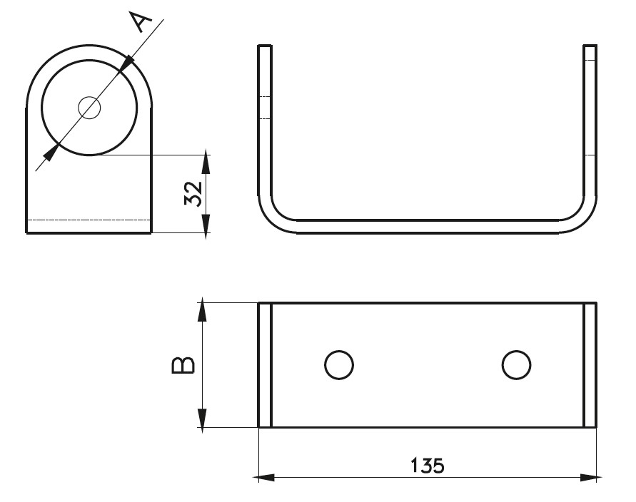 YA-100 Baluster Bracket for Side Assembly Teknik Çizim