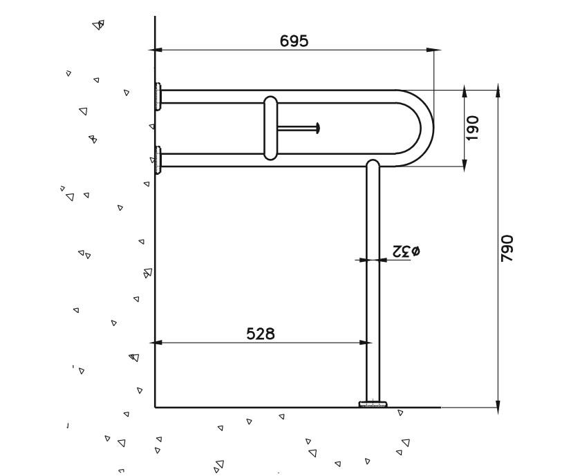 Engelli Tuvalet Tutamağı Sabit L2 Teknik Çizim
