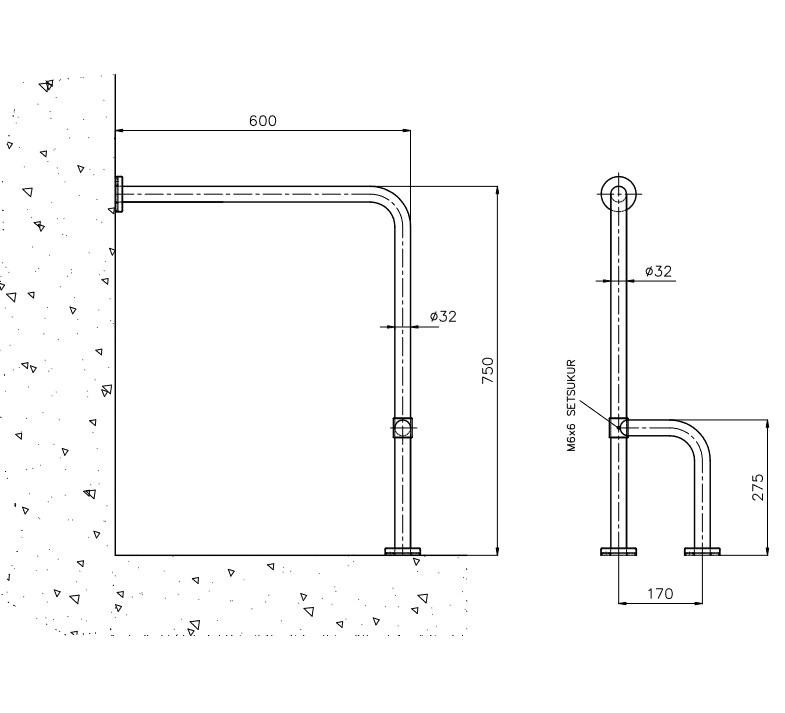 Disabled Toilet Grab Bar Fixed L3 Teknik Çizim