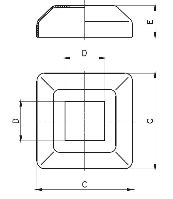 KPR - Kare Pres Rozet (60 x 60) Teknik Çizim