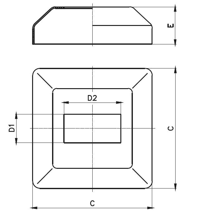 KPR - Kare Pres Rozet (82 x 82) Teknik Çizim